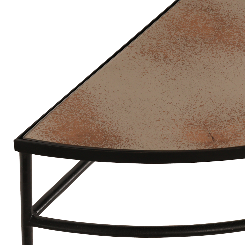 half moon console notre monde tgn bronze copper leaf heavy aged det accent table modern replica furniture couch tray ikea pier one dining gold legs pedestal target bedside lamps