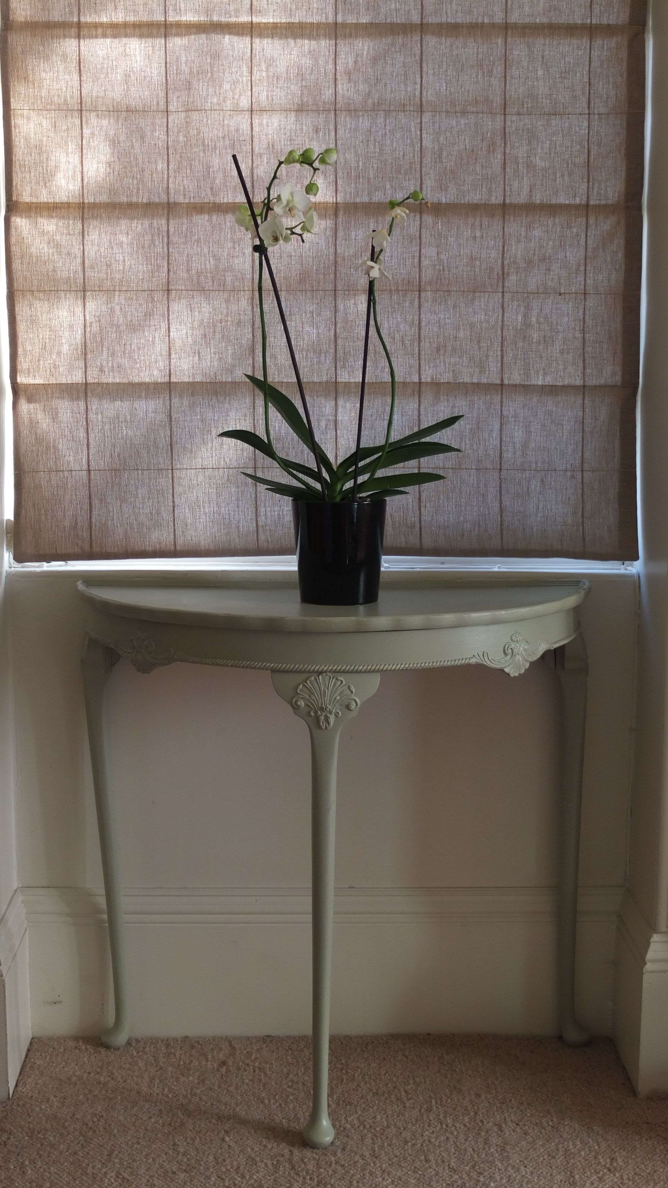 half moon table entryway accent console furniture makeover refurbished wall clocks target mirimyn round small pub and chairs magnussen glass coffee pink tablecloth marble legs