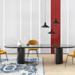 half moon table furniture small house interior design midnight glossy pendant matt black beetle chair velluto cotone accent dining tables from gubi architonic and chairs ideas 150x150