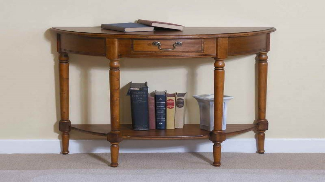 half moon tables living room furniture using wooden console table accent circle large shaker cherry end chairs kids beech bedside victorian style coffee and reclining chair