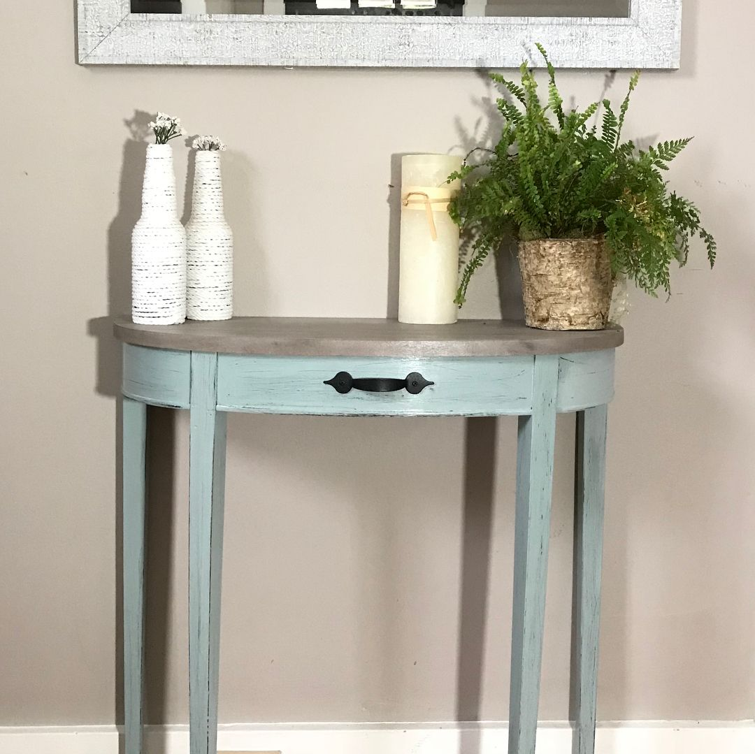 half round accent table refinished with vintage blue chalk paint lightly distressed this decorative handle perfect diy sliding barn door set nesting tables rattan dining chairs