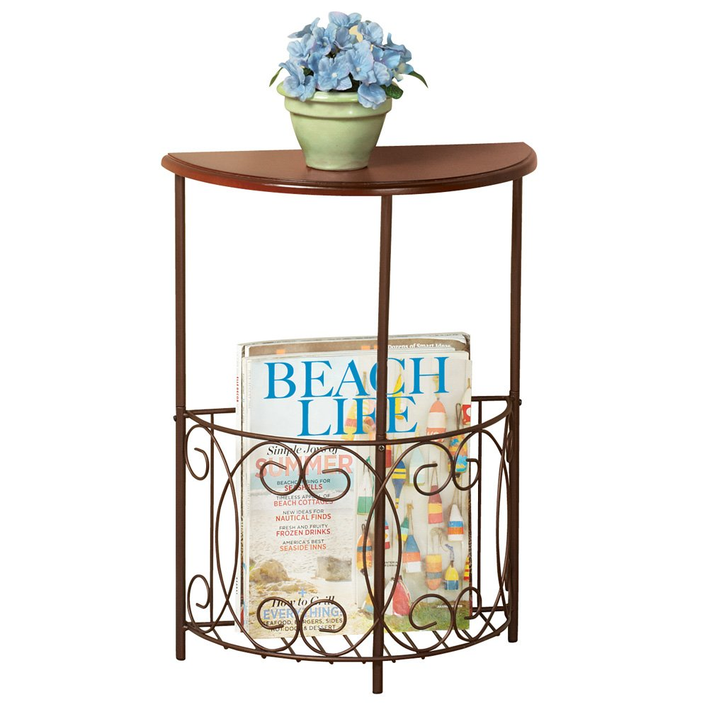 half round side accent console table with magazine holder home kitchen corner furniture pieces target bedside lamps winsome wood small black end doors coastal unique occasional