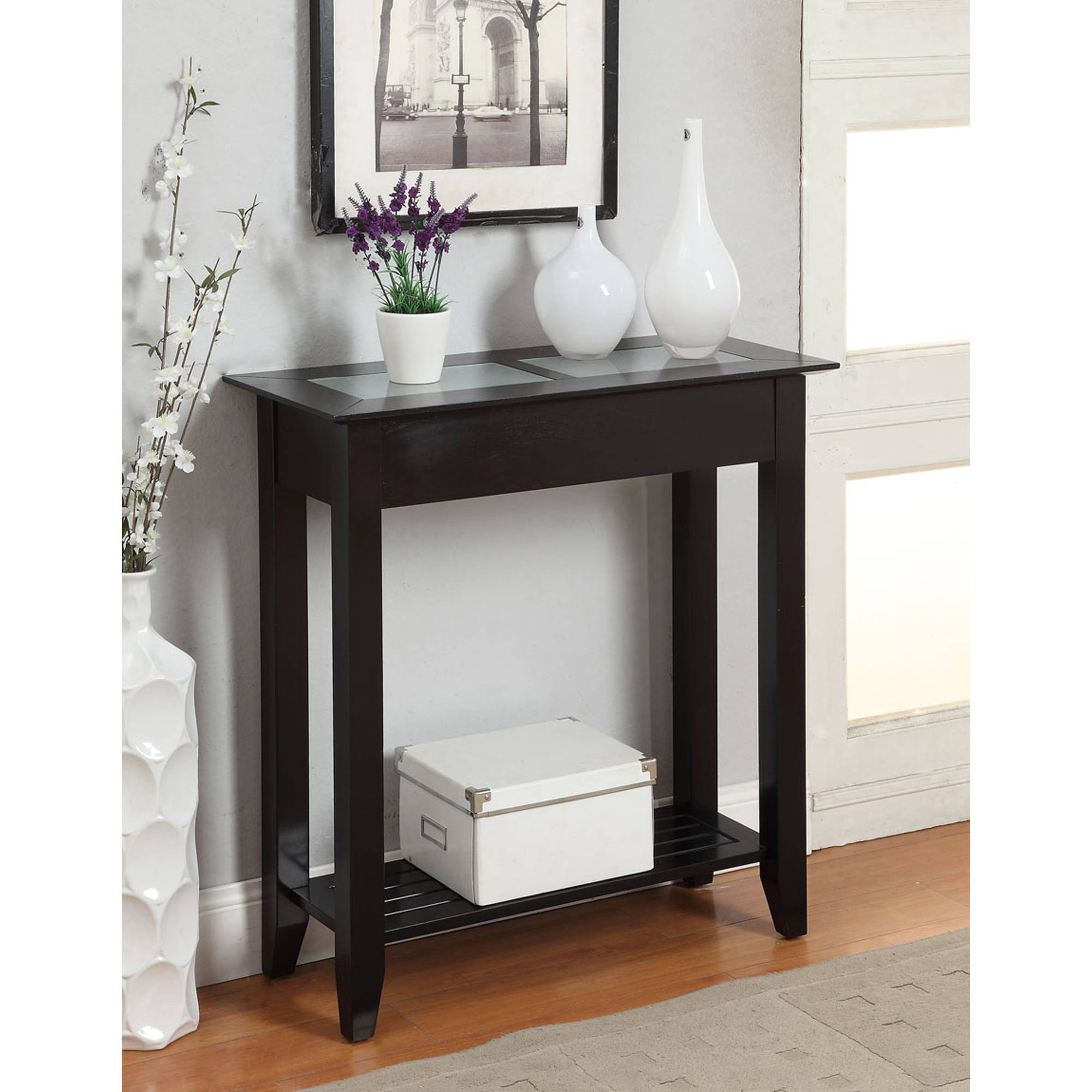 hallway console table with drawers convenience concepts american heritage hall accent pottery barn like dining maple coffee coral decorative accents patio swing black and gray end