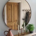 hallway furniture copper mirror over steel and oak console table mirrored glass accent with drawer studio rae more red home decor accents small wooden black bedside lamps ethan 150x150