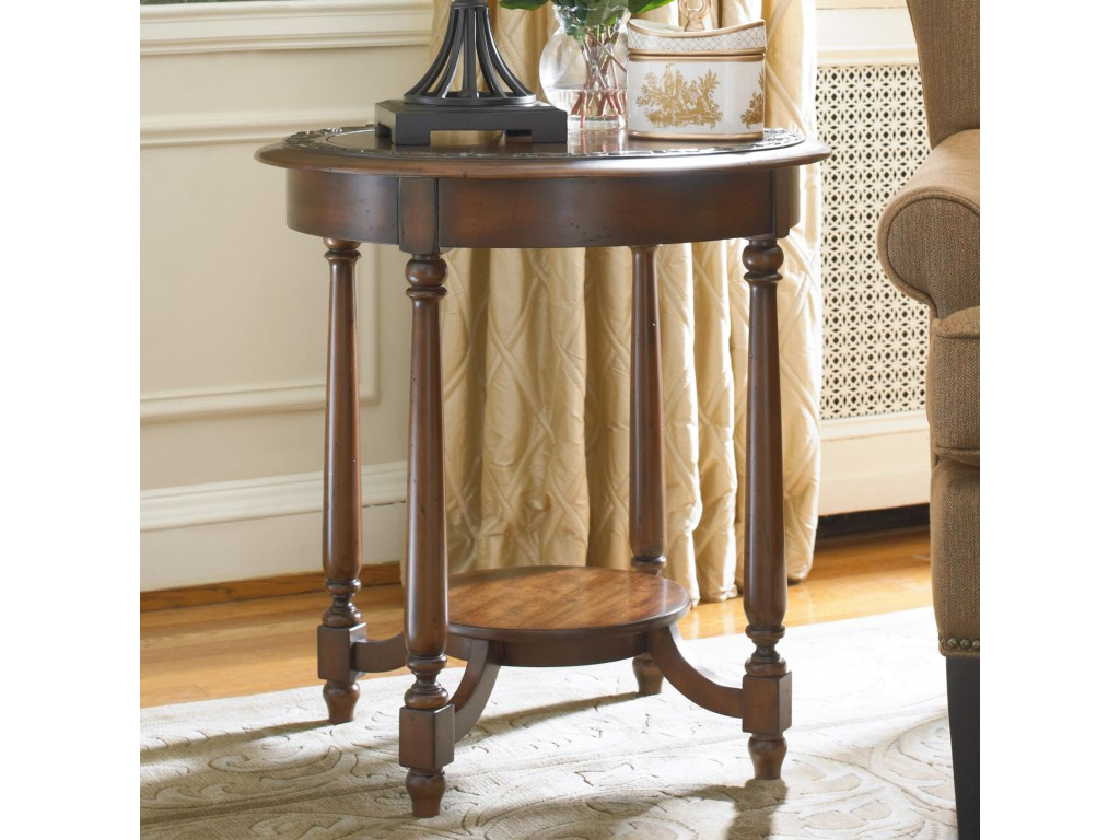 hamilton home living room accents round accent table with applique products hooker furniture color brown accentsround easter runner quilt patterns console lamps marble occasional