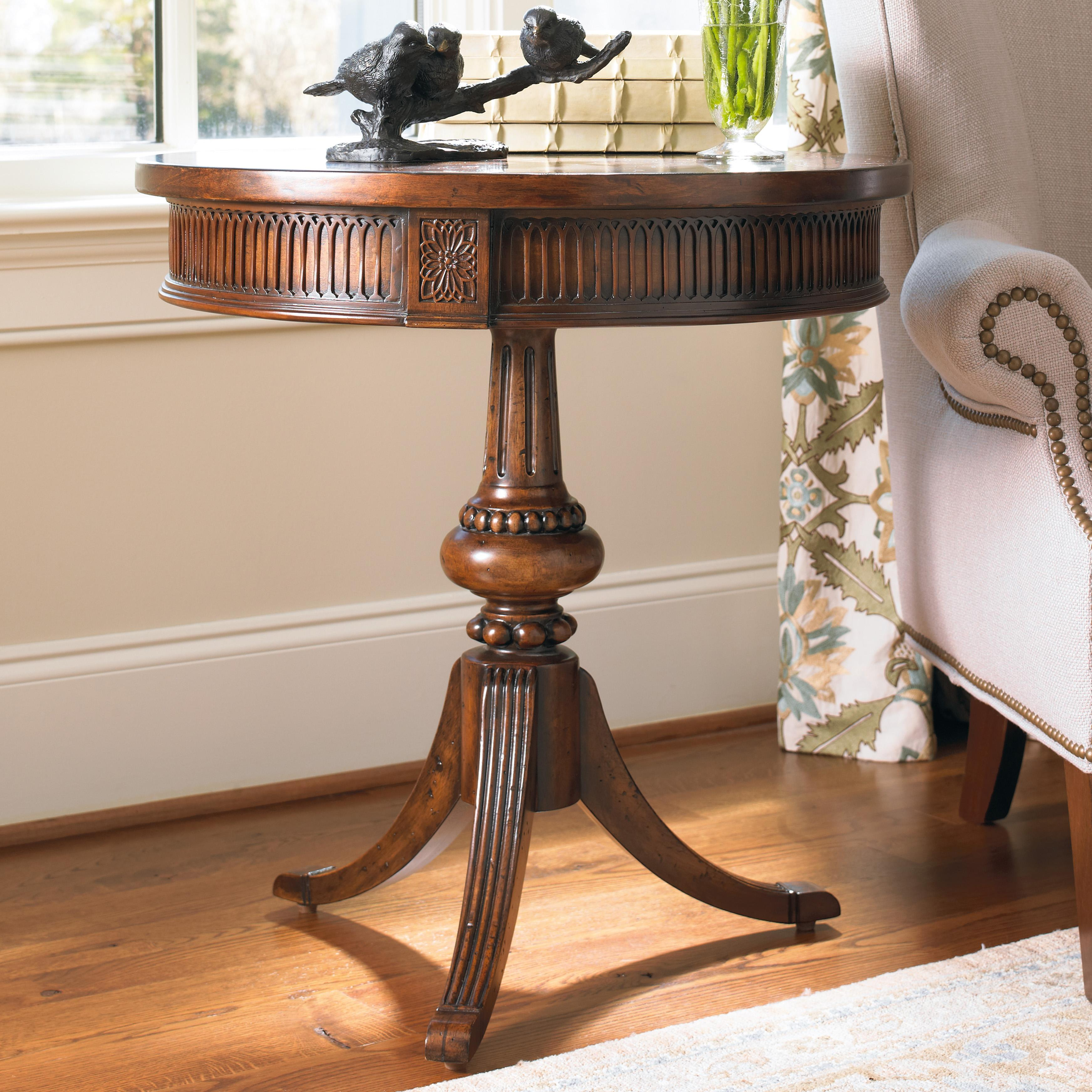 hamilton home living room accents round accent table with ornate products hooker furniture color pedestal wood threshold fretwork pads door chest glass stacking coffee tables