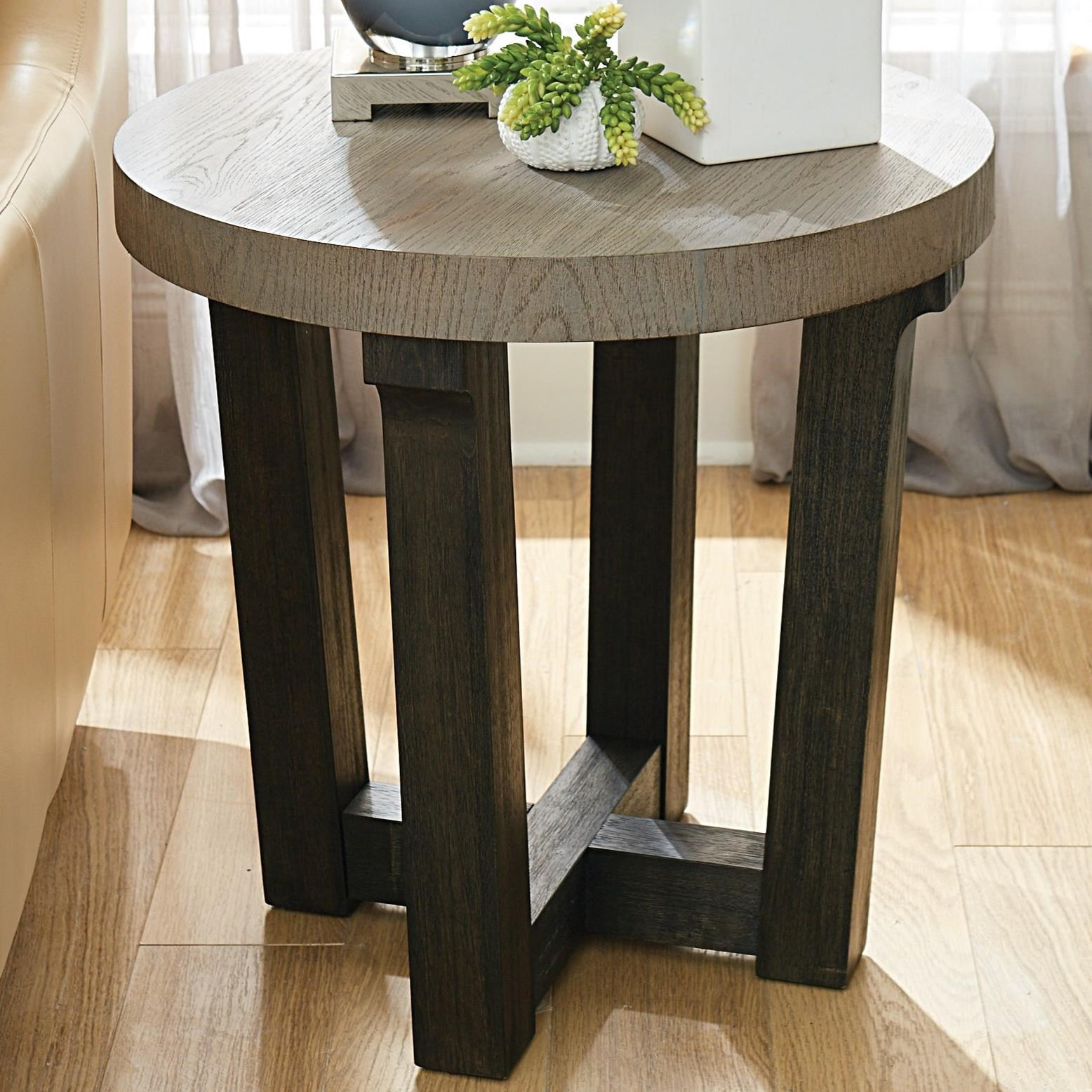 hammary beckham contemporary round accent table with two tone finish products color drawer cabinet placemats and napkins metal cube side nesting tables antique victorian coffee