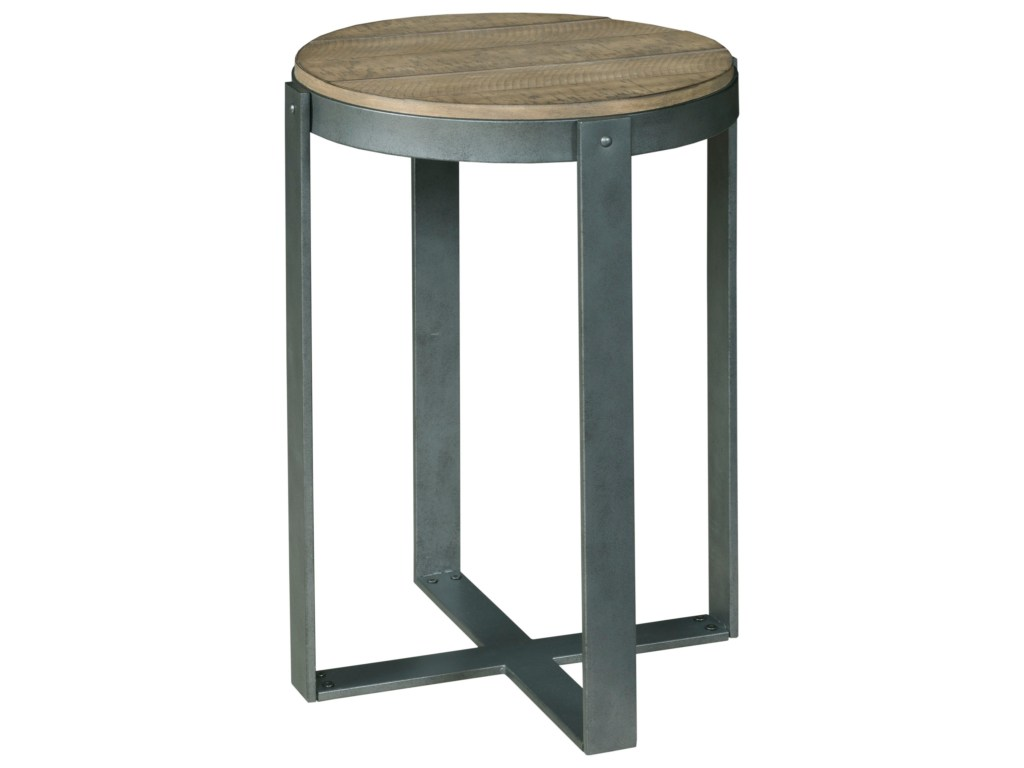 hammary blanton rustic plank look pine round accent table with metal products color blantonround ceramic outdoor side small end tables ikea dog kennel gold drum living spaces