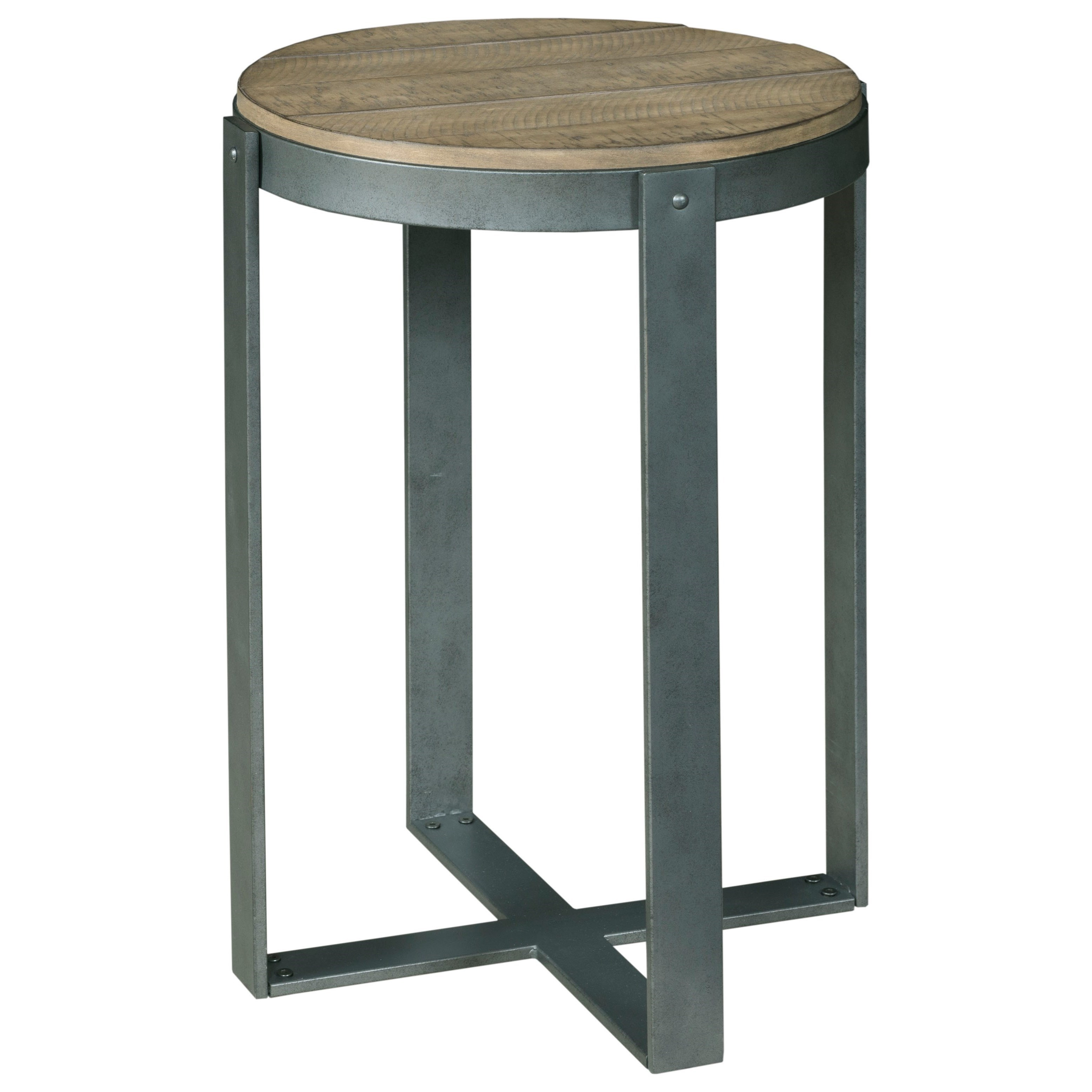 hammary blanton rustic plank look pine round accent table with metal products color drawer best drum throne under butler tray rectangular cover outdoor furniture living room sets