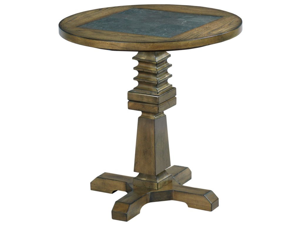 hammary elm ridge rustic round accent table with blue stone products color metal ridgeround wood coffee glass top triangle side end tables house decoration things lamps waterford