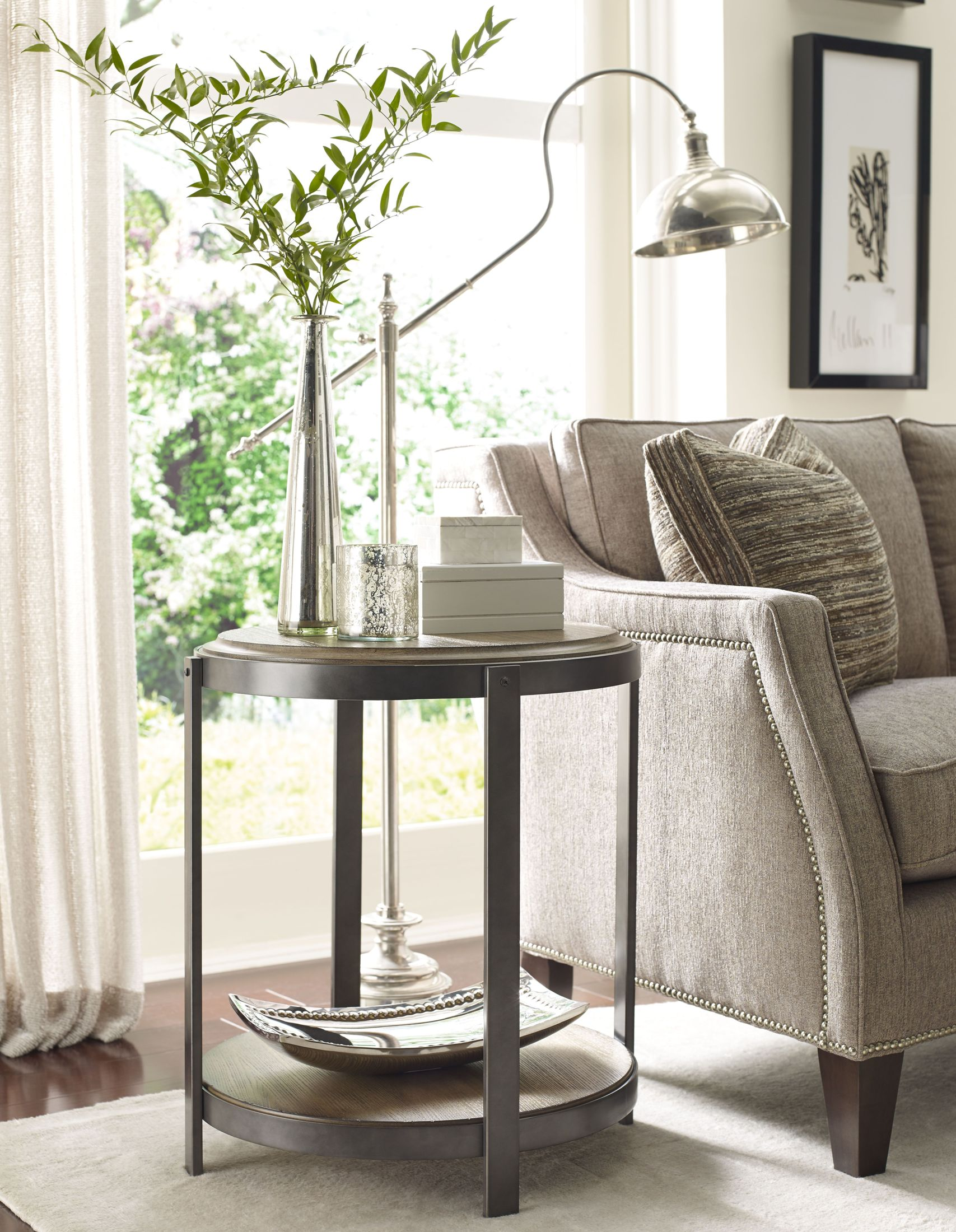 hammary evoke brown and gray round accent table collection patio serving small living room decorating ideas outdoor top covers trestle pine uttermost laton mirrored wrought iron