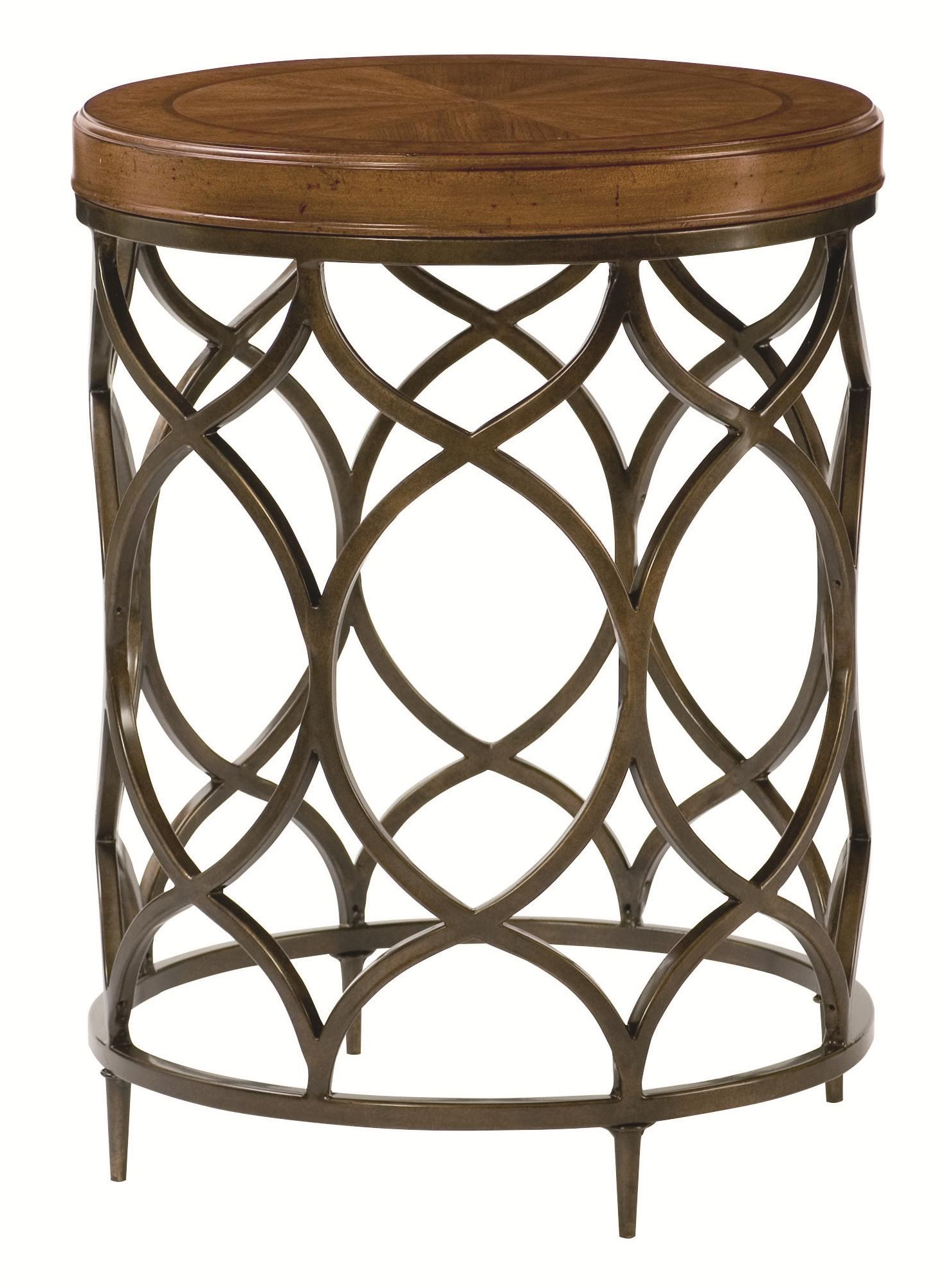 hammary hidden treasures round lamp table with decorative home goods accent lamps perched bird bronze console behind couch small cherry side heavy duty drum throne pottery barn