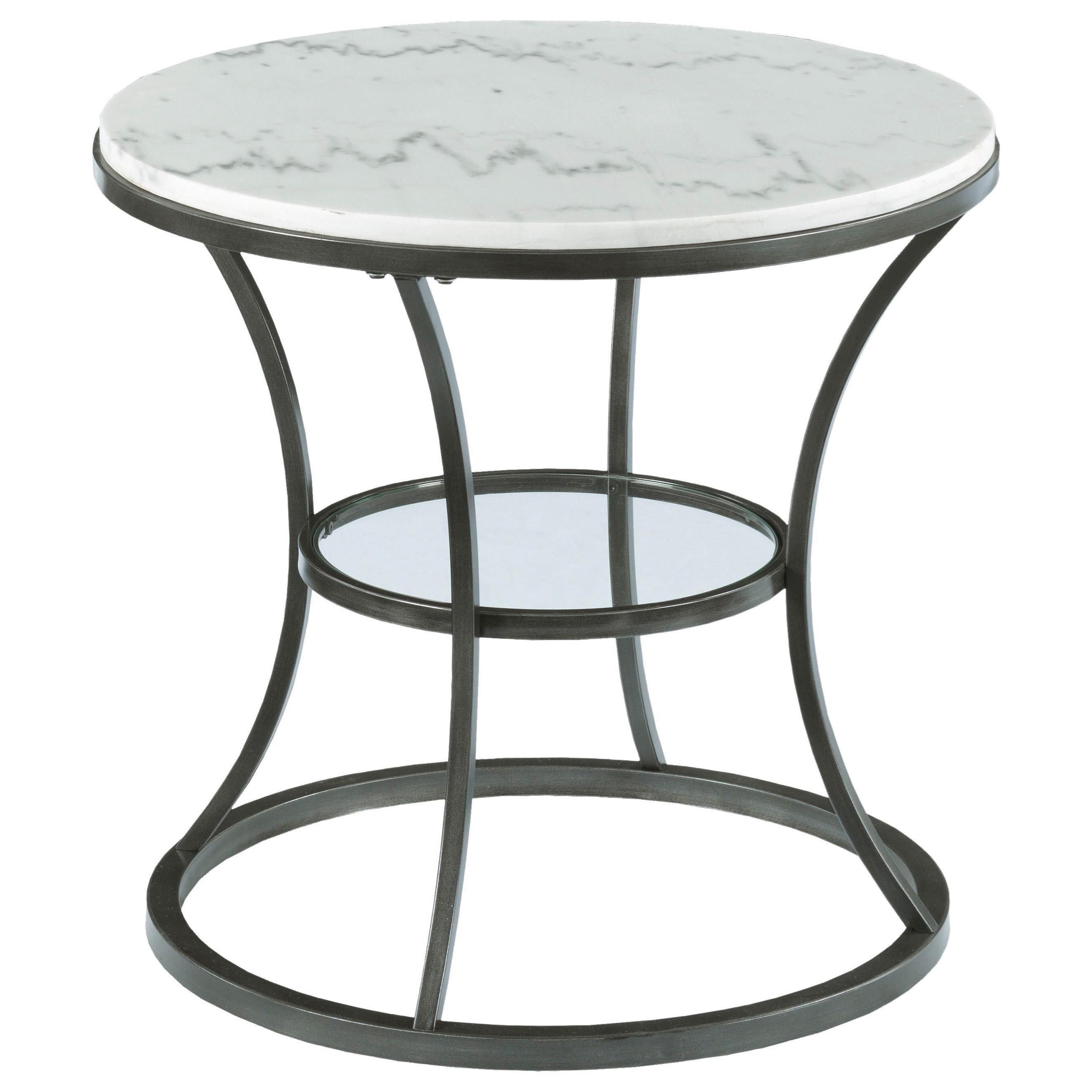 hammary impact round end table with marble top and glass copper accent set cube perspex coffee valley furniture nearby patio ideas ethan allen country french starfish lamp hampton