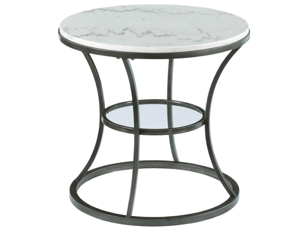hammary impact round end table with marble top and glass products color threshold hexagon accent shelf tiffany style floor lamps light grey tables home goods runners ashley