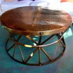 hammered copper coffee table tables drum accent chesterfield sofa battery operated lamp heavy duty umbrella stand oriental style lamps white porch orange bedside side with marble 150x150