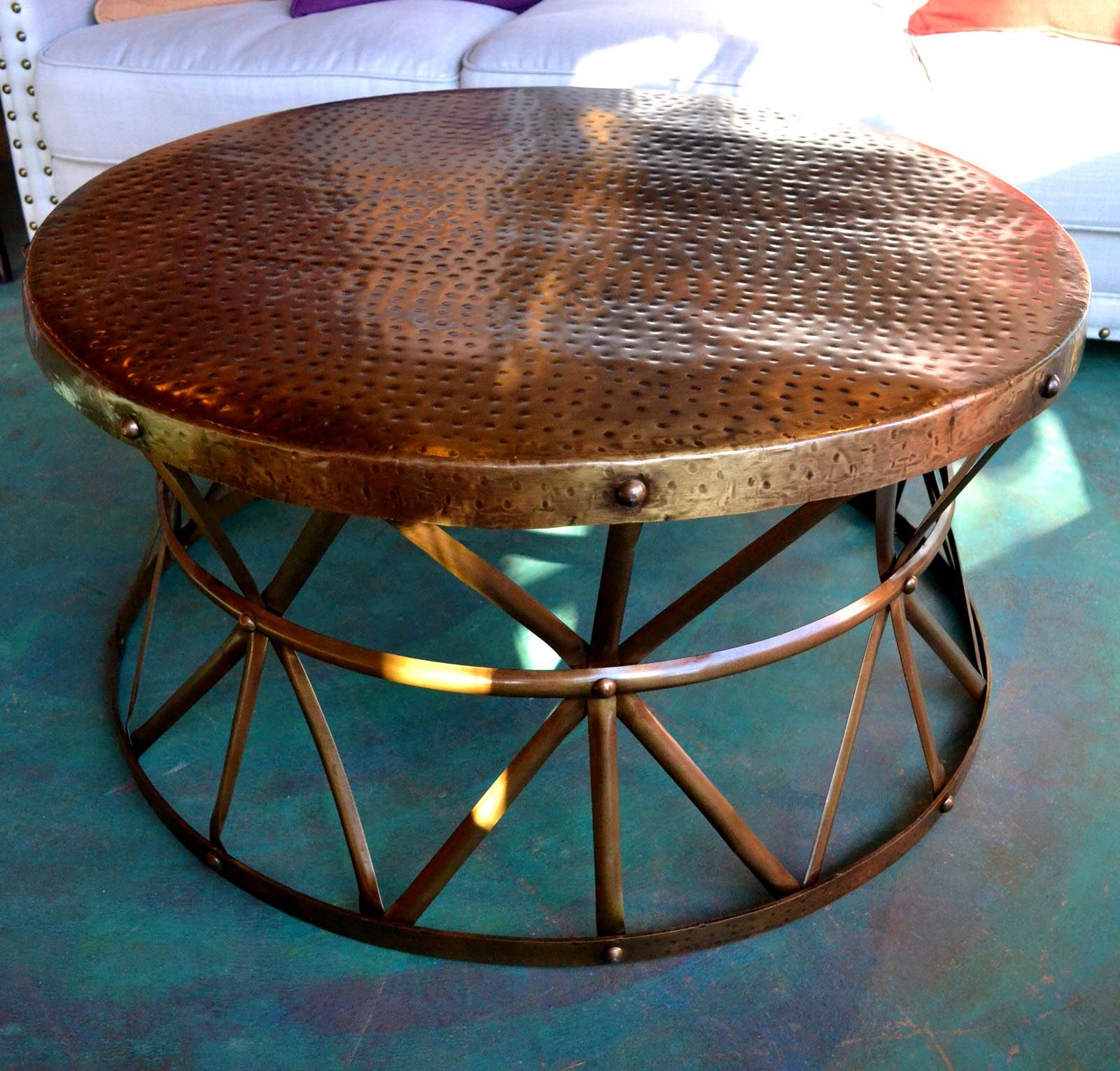 hammered copper coffee table tables drum accent chesterfield sofa battery operated lamp heavy duty umbrella stand oriental style lamps white porch orange bedside side with marble