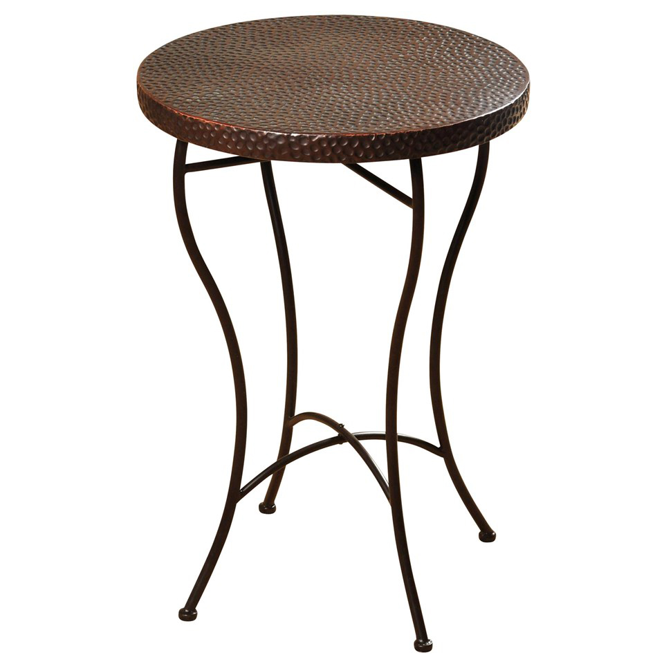 hammered copper top round accent table black beach house decor unfinished small leather armchair office desk ideas kmart furniture bedroom pottery barn metal side ethan allen teal