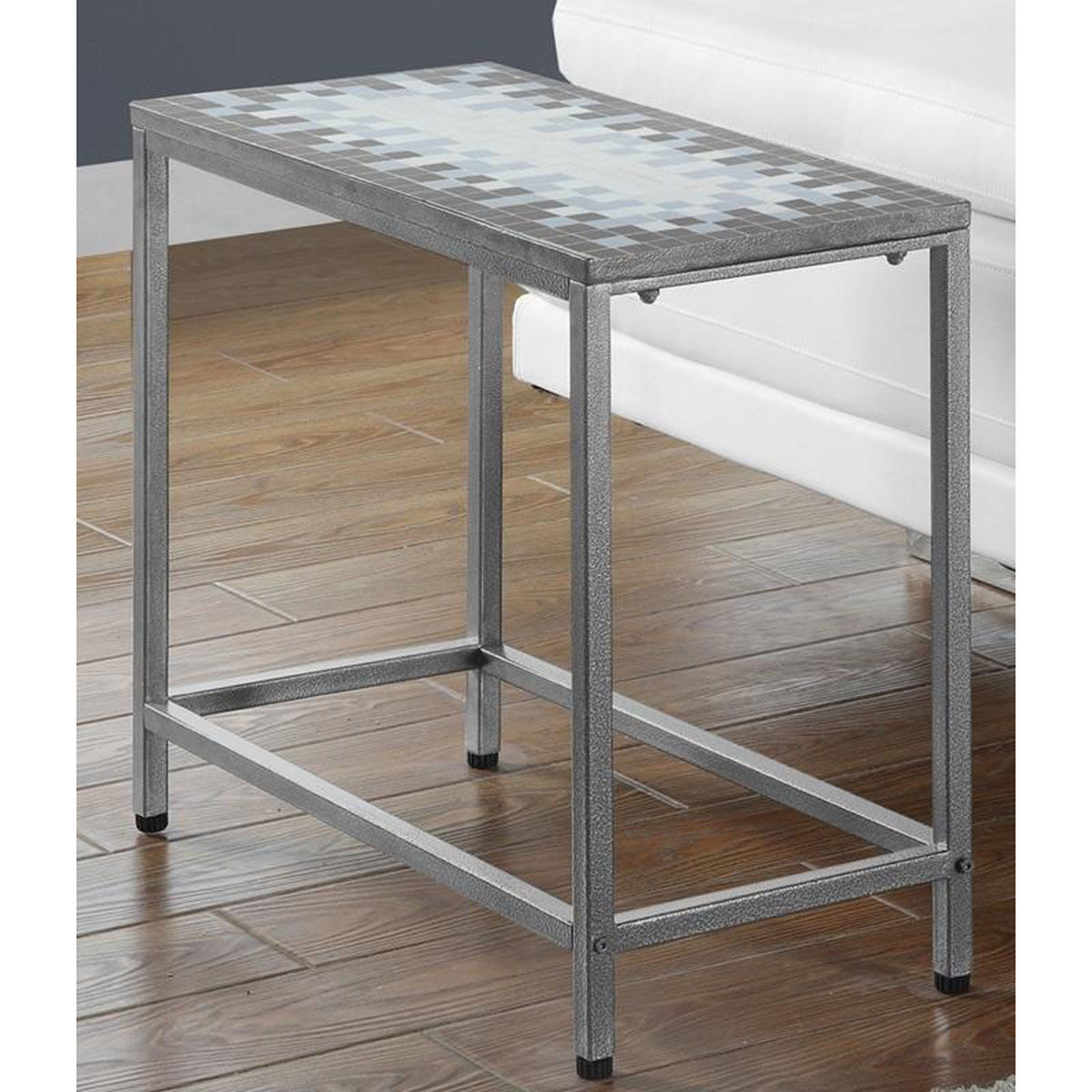 hammered metal accent table bizchair monarch specialties msp main our with gray and blue mosaic tile top console shelves drawers target white comforter red cloth round rugs ikea
