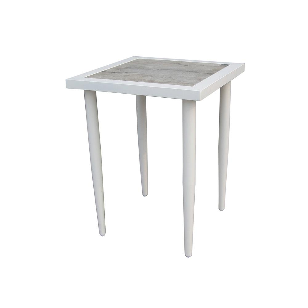 hampton bay alveranda square metal outdoor accent table side tables wood pedestal white marble dining round with storage battery powered room lighting glass sets mirrored hall rod