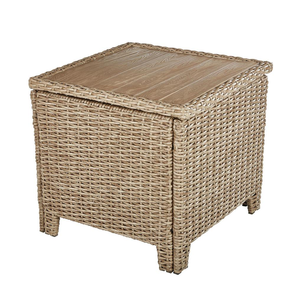 hampton bay amber grove brown wicker outdoor accent trunk table side tables target threshold coffee oriental lamp shade tall counter wine rack uttermost lighting round glass