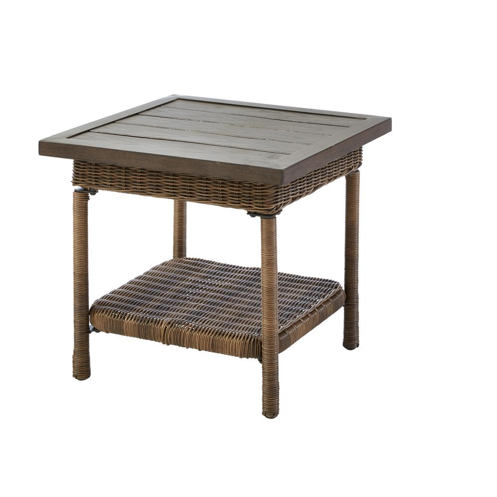 hampton bay beacon park steel wicker outdoor accent table side tables woven metal breakfast with stools pier coupons harrietta piece set narrow cabinet outside patio small lucite