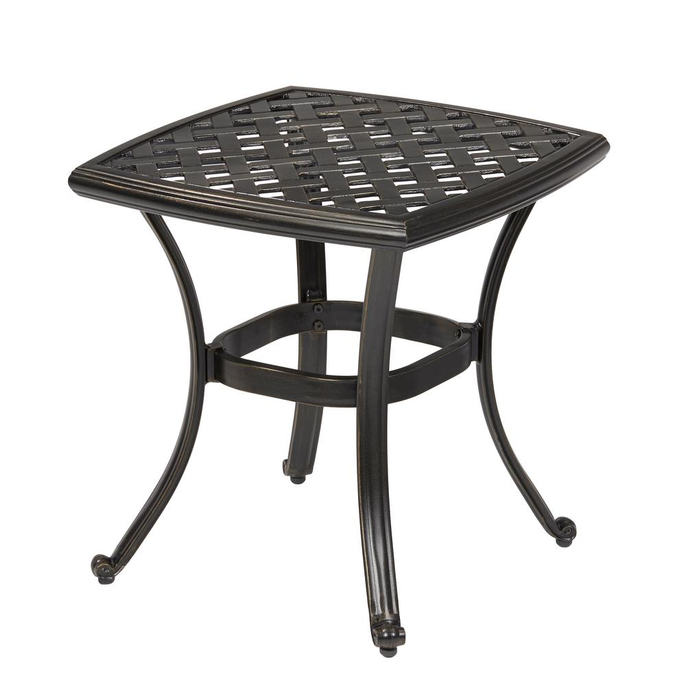 hampton bay belcourt metal square outdoor side table the tables umbrella accent small with folding sides mirrored rectangular coffee butcher block island bbq grill ikea garden