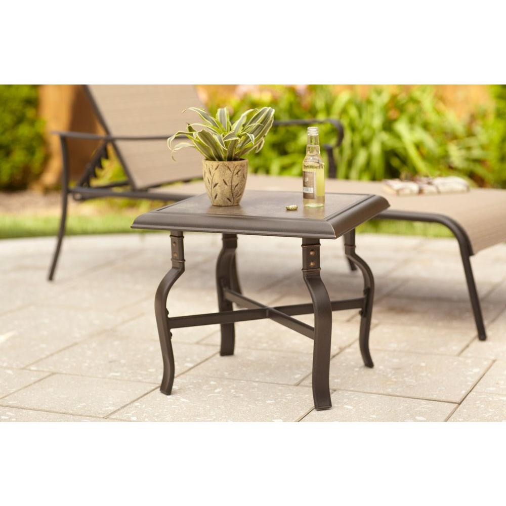hampton bay belleville patio side table outdoor accent tables shoe organizer target entryway console with drawers for sofas retro cabinet small cloth mainstays marble chairside