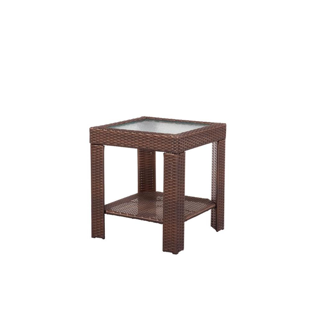 hampton bay beverly patio accent table the outdoor side tables gold bedside lamps contemporary dining small dark wood console stable target alexa smart home multi drawer storage