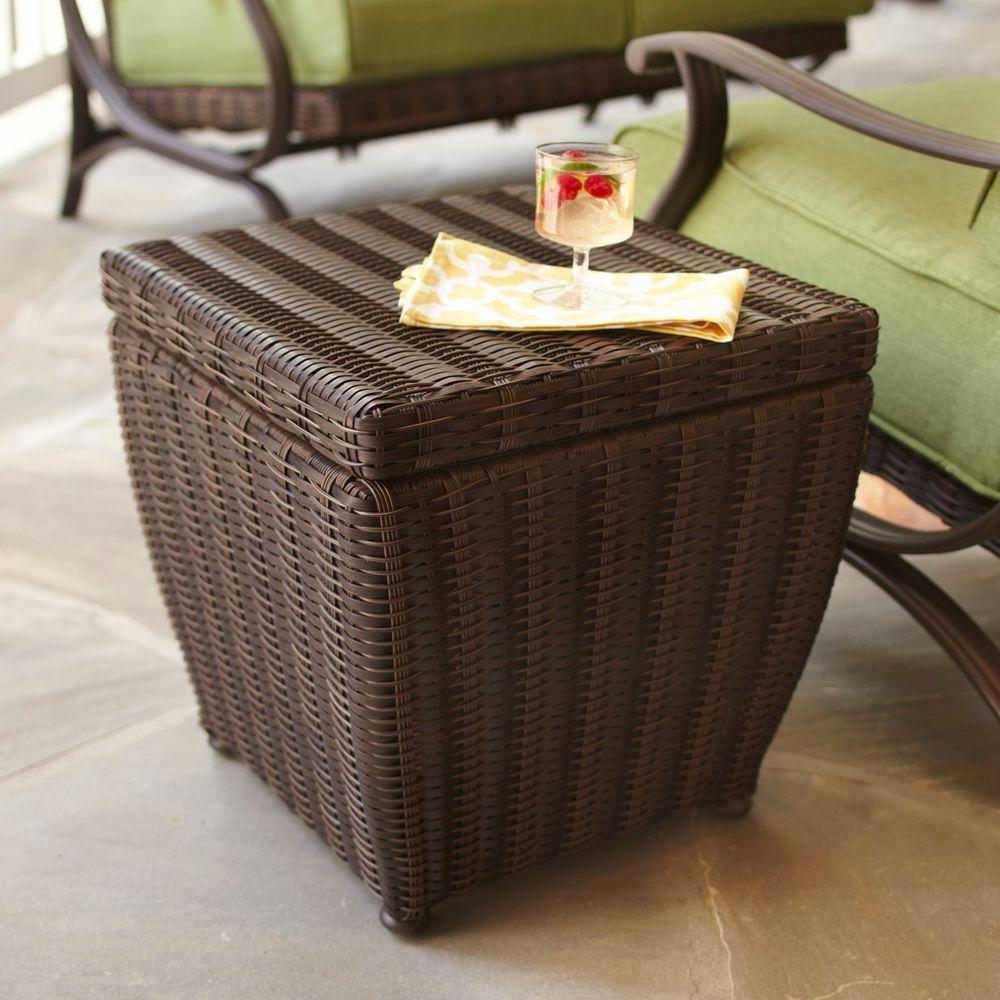 hampton bay brown outdoor side tables patio the home end table storage pembrey ikea king coffee with drawers wood fireplace inserts antique wooden trunks and chests living room