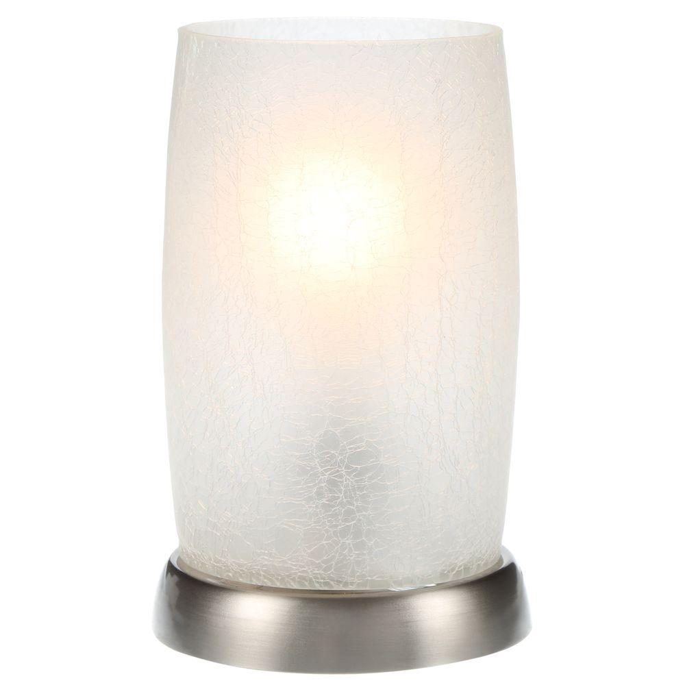 hampton bay brushed nickel accent lamp with frosted crackled stainless steel table lamps uplight glass shade round tablecloth measurements marble top pedestals square tops garden
