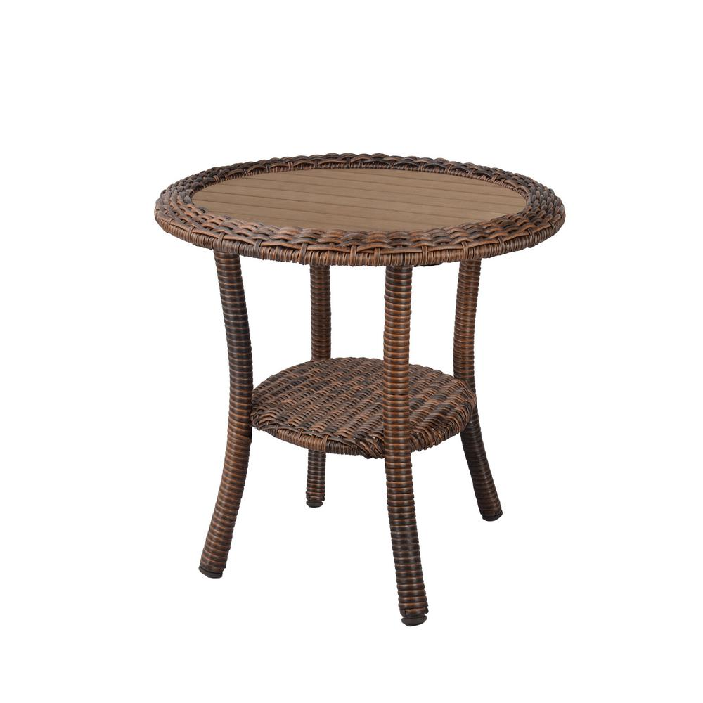 hampton bay cambridge brown wicker outdoor side table tables solid brass coffee target small kitchen bath filler cream dining room chairs oriental porcelain lamps accent marble