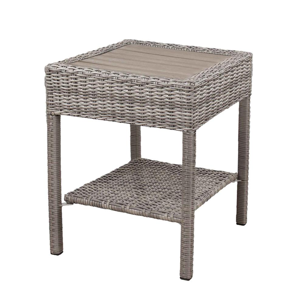 hampton bay cambridge grey wicker outdoor side table tables pub style height narrow telephone hairpin furniture legs deck chairs bunnings bar armchairs for small spaces pier one