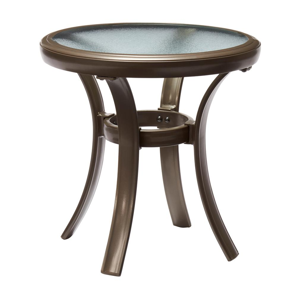 hampton bay commercial grade aluminum brown round outdoor side table tables patio accent with storage gold bedside lamps marble snack led puck lights white umbrella hole stable