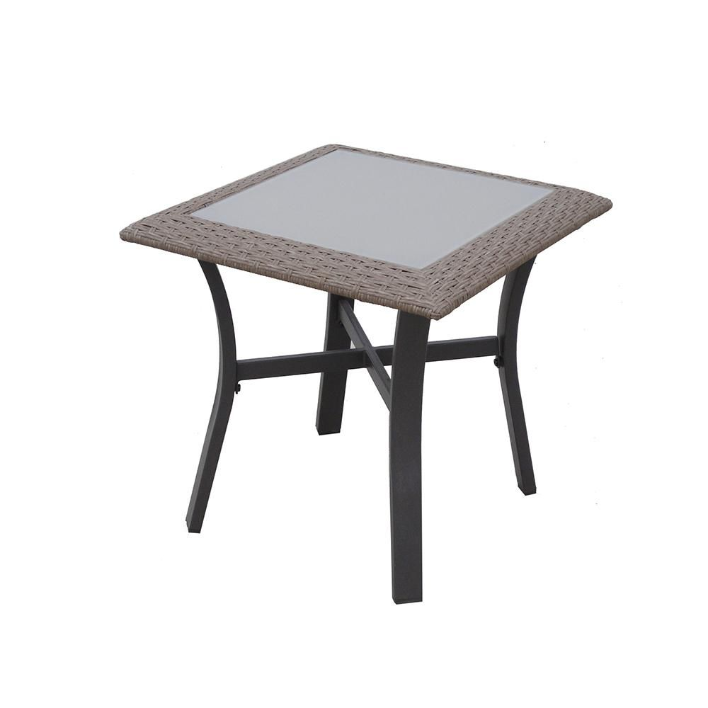 hampton bay corranade metal outdoor accent table products patio tables the purchase linens frame coffee with wood top nate berkus target mortar and pestle white end drawer sliding