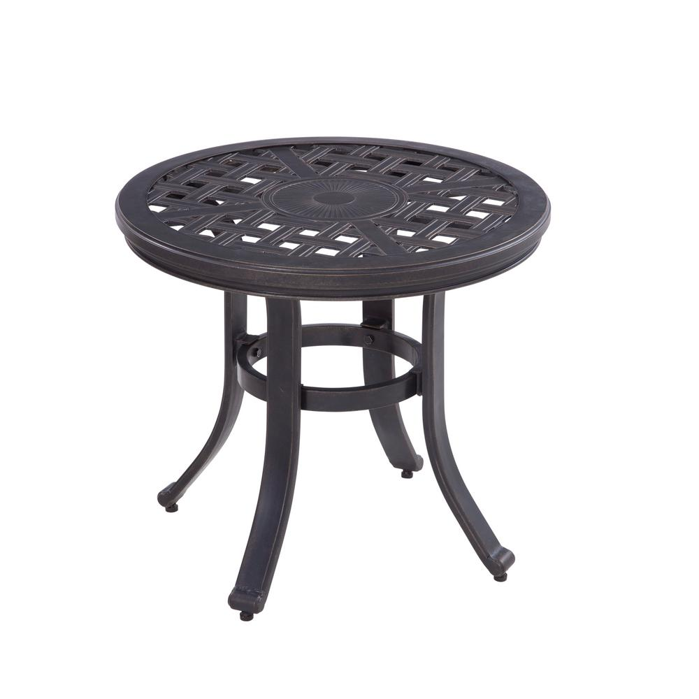 hampton bay covina round aluminum outdoor side table tables tiffany style desk lamp emerald green dining chairs west elm room sets maple coffee bunnings garden seat furniture