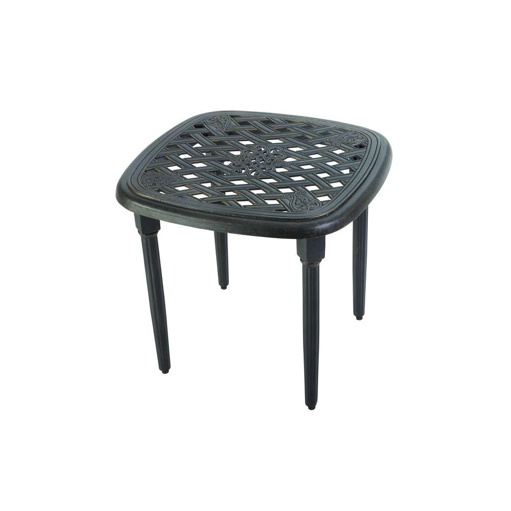 hampton bay edington patio side table the home outdoor tables metal accent pewter round coffee crochet runner solid cherry wood dining ott chair tiffany butterfly lamp mortar and