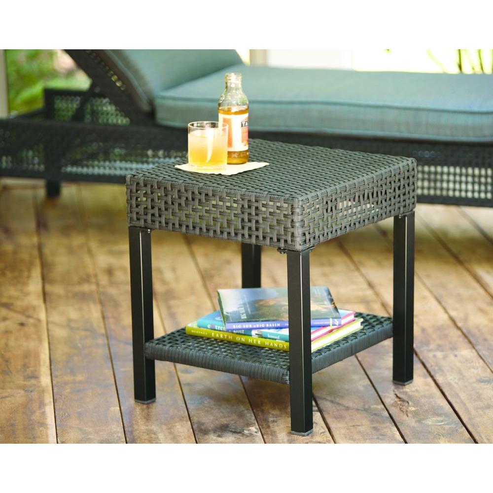 hampton bay fenton wicker outdoor patio side table the tables steel coffee legs large furniture covers bar narrow telephone sets design ideas brown leather accent chair ashley