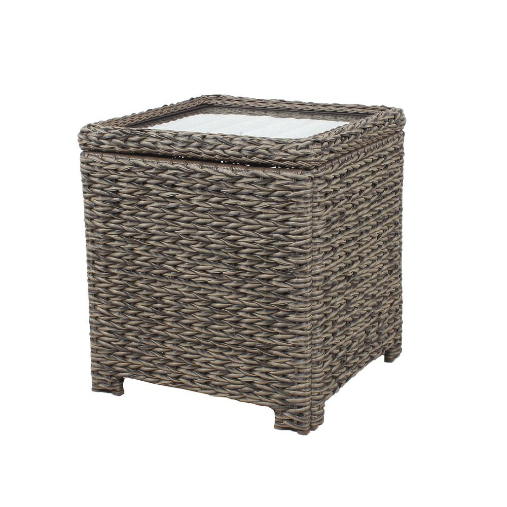 hampton bay laguna point square wicker outdoor accent table with side tables captured glass top grill chef dining set rose gold bedside lamp drawer end wine cart counter height
