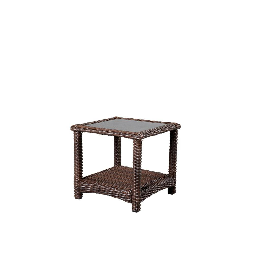 hampton bay mill valley square patio accent table outdoor side tables big coffee marble snack tall narrow nightstand furniture feet led puck lights gold bedside lamps farmhouse