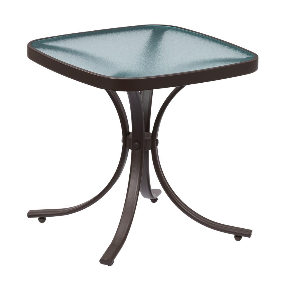 hampton bay mix and match square metal outdoor side table tables accent high end lighting resin patio with umbrella hole one drawer oval dining cloth small marble top coffee