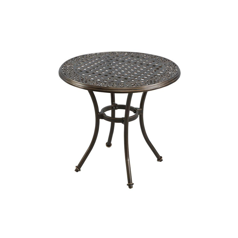 hampton bay niles park round cast top patio bistro table outdoor tables side umbrella piece set nautical tures drum throne with backrest bronze wall clock carsons furniture
