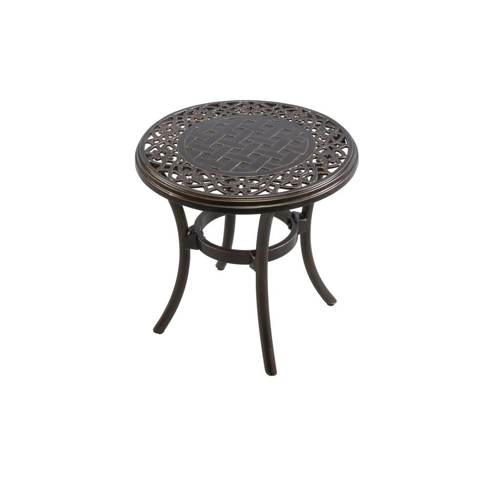 hampton bay niles park round cast top patio side outdoor table aluminum ikea storage drawers entryway with shelves bedroom night lamps ashley furniture chair and half antique tall