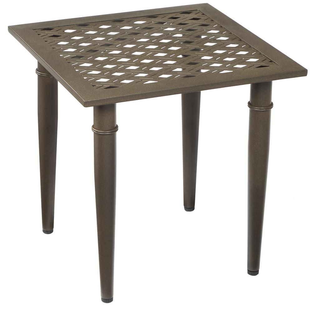hampton bay oak cliff metal outdoor side table the tables patio umbrella accent rustic coffee with drawers purple chair target black inch wide console bar pottery barn square