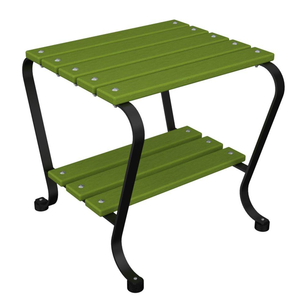 hampton bay outdoor side tables patio the ivy terrace spring haven umbrella accent table black and lime mid century console wood chrome tall runner for square target chairs garden