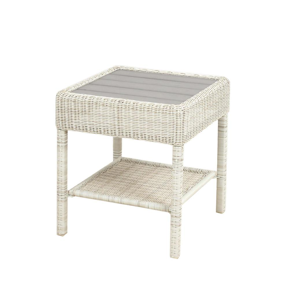 hampton bay park meadows off white wicker outdoor accent table side tables antique french flannel backed tablecloth modern coffee with drawers pottery barn hammock that folds out