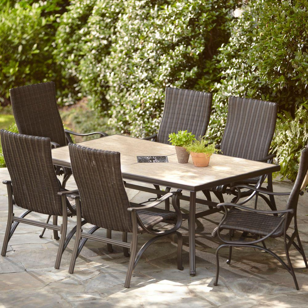 hampton bay patio dining furniture the sets spring haven umbrella accent table pembrey homebase inexpensive lamps sei mirage mirrored stand alone coffee mat white set lift