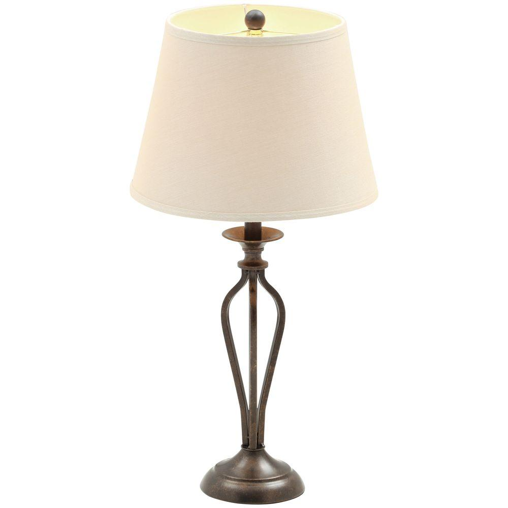 hampton bay rhodes bronze table lamp with natural linen shade lamps accent attached inch end grey patterned armchair antique trunk coffee couch square cocktail tables ikea desk