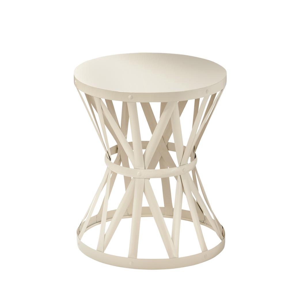hampton bay round metal garden stool chalk outdoor side tables table small nautical plastic pottery barn rain drum dining room sets ikea silver pier gift card diy cocktail blanket