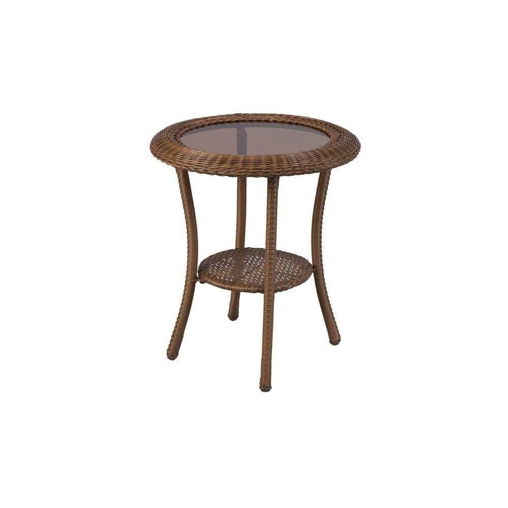hampton bay spring haven brown all weather wicker patio round outdoor side table new unopened box room essentials desk vanity unit with basin teak furniture vancouver night lamp