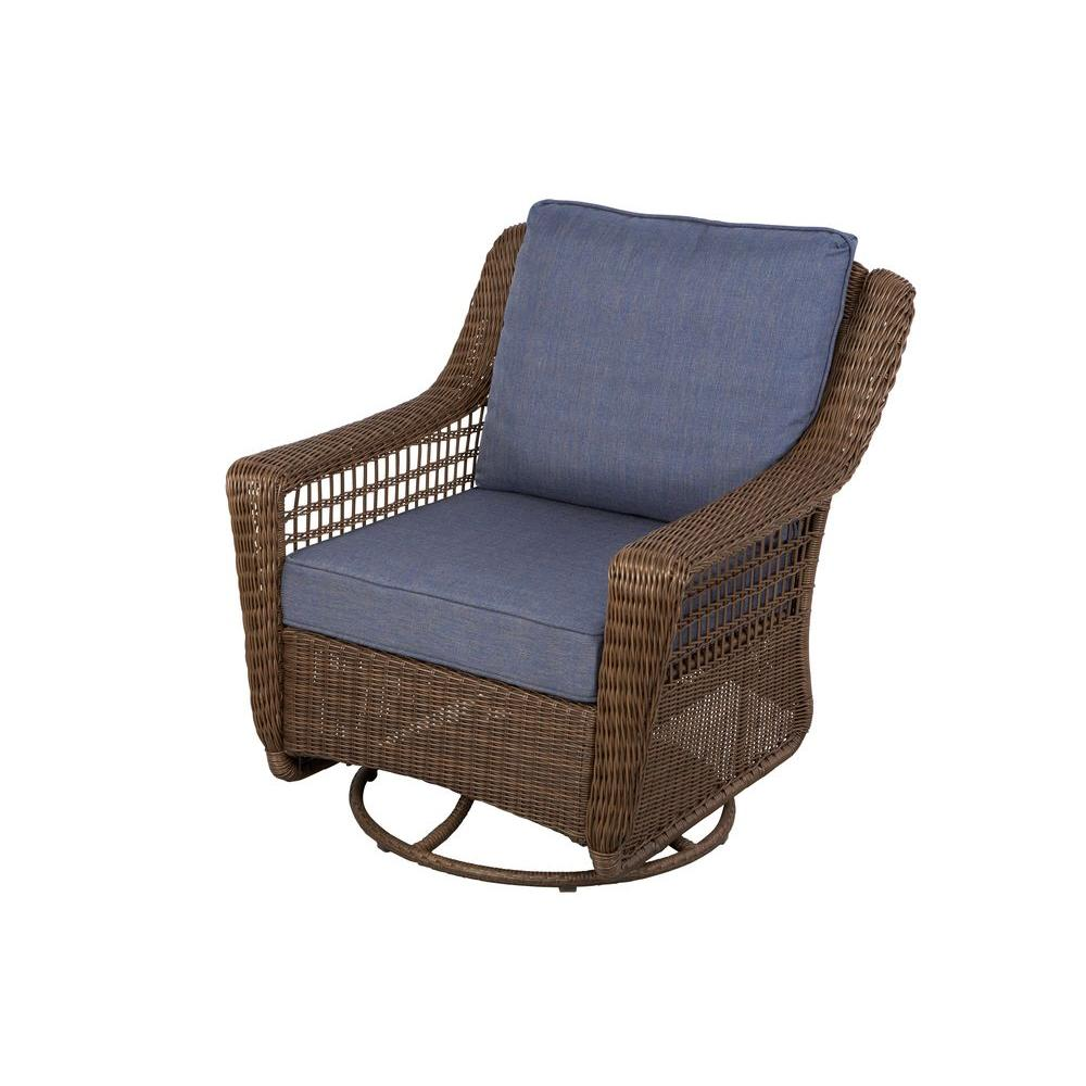 hampton bay spring haven brown all weather wicker patio side table outdoor lounge chairs umbrella accent the furniture lenovo hand painted hopkins ethan allen art hobby lobby end